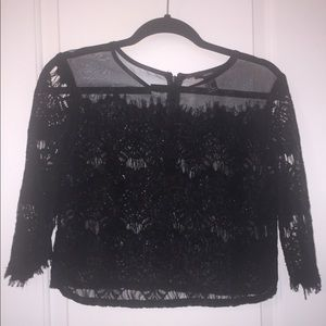 FOREVER 21 Black Mesh and Lace Top!